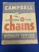 Vintage Campbell Automobile Tire Chains In Original Box