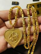 22k 916 Fine Yellow Real Gold Mens Womenandrsquos Heart Necklace 22andrdquo Long 4.5mm 17.72g