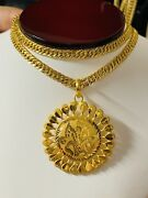 22k 916 Fine Yellow Real Gold Mens Round Set Necklace With 26andrdquo Long 6mm 26.53g