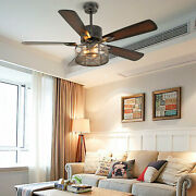 52andlsquoandrsquo Ceiling Lamp Silent Fan Light 3 Speeds 5 Wood Blades Remote Control New