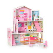 Big Wooden Dollhouse With Furniture Doll House Playset For Kids Girls Gift