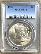 1923 United States 1 Silver Peace Dollar Pcgs Ms64