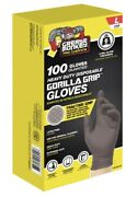 100 Grease Monkey Gorllla Grip Heavy Duty Traction Nitrile Gloves Blue, Large