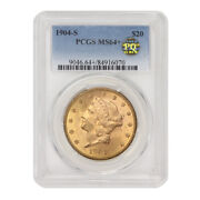 1904-s 20 Gold Liberty Head Double Eagle Pcgs Ms64+ Pq Approved Choice Coin
