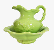 Vintage Mccoy Pottery Pitcher And Basin Wash Bowl Set Bright Lime Green