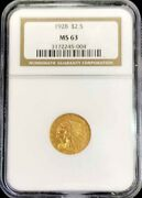 1928 Gold United States 2.5 Indian Head Quarter Eagle Coin Ngc Mint State 63