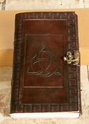 Leather Celtic Knot Journal W/ Lock/latch 200 5x9 And039vellumand039 Pages Handmade