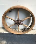 Antique Wooden Wheel From Wisconsin Flour Mill Architectural 2