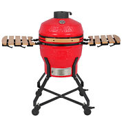 18 Inch Kamado Ceramic Charcoal Grill Outdoor Smoker Grill For Bbq Picnic Red Us