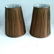 2 Fabric Bell Lamp Shade Brown Small Material 6.5 Diameter Clip On