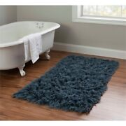 Linon New Flokati Hand Woven Wool 2and0394x4and0393 Rug In Denim Blue