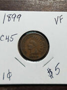 Coin - Us - Small Cents - Indian Head - 1899 - Vf