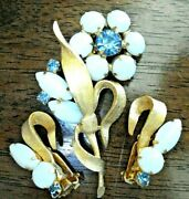 Vintage Milk Glass And Blue Rhinestone Textured Gold Plated Floral Pin And Earrings