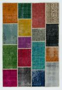 Multicolor Handmade Patchwork Rug Made From Over-dyed Vintage Carpets