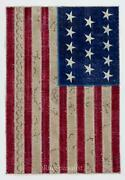 American Flag Design Patchwork Rug Made From Redyed Vintage Carpets Custom Opti