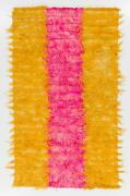 Shag Pile Mohair Tulu Rug In Hot Pink And Yellow Colors, Velvety Wool