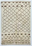 Contemporary Moroccan Azilal Style Rug Made Of Natural Undyed Wool