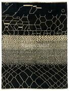 Contemporary Hand Knotted Moroccan 100 Wool Rug In Black And White Colors
