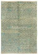 Contemporary Hand Knotted Rug In Light Blue And Gray Cream Color 100 Wool
