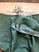 Vintage Faribo Thick Wool Blanket Light Green Embroidered 72x90 Twin Full