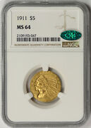 1911 Indian Head Half Eagle Gold 5 Ms 64 Ngc Cac Approved