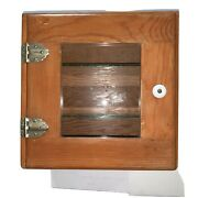 Vtg Wooden Sterilizer With Glass Door And Glass Shelves.