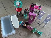 Monster High Furniture Lot And Accessories House And Mad Hatter Doll