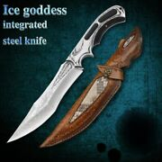 Handmade Forged Damascus Fixed Blade Bowie Hunting Knife Ebony Steel Handle Camp