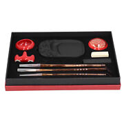 Chinese Calligraphy Practice Set Kids Adult Brush Pen Rest Inkstone Red Box Gift