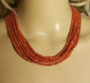 Natural Red Coral Round 4mm 6 Strands 14 Kt Gold Beads Necklace