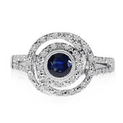 14k White Gold Sapphire And Diamond Concentric Circle Ring