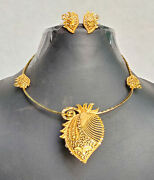 22k Gold Plated Indian Choker Necklace Earrings Indian Party Set Aj342