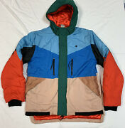 Rare Lrg Lifted Research Group Jacket Xl Color Block Hooded Blue Green Brown Red