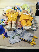 Big Lot Of Clothes + 1985 Boy/girl Special Edition Cabbage Patch Twin Dolls