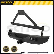 Rear Step Bumper W/ Swing-out Tire Carrier + Leds For 2007-2018 Jeep Wrangler Jk