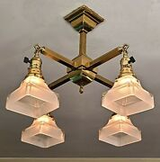 Professionally Restored Antique C.1900 Mission Ceiling Light Fixture And Shades