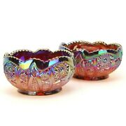 Imperial Glass Ruby Sunset Carnival Candle Holder Bowl Daisy And Button Pair