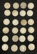 Twenty Four 90 Silver Barber Quarters W/ Dates Various Years Circulated A