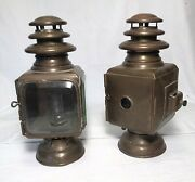 Excellent Matched Pair Brass Gray And Davis Side Lights Brass Era Car Automobile