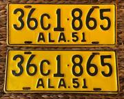Alabama 1951 Holt County License Plate Pair 36c1-865