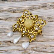 Edwardian Natural Sea And Freshwater Pearl And Opal Brooch - 18k Gold - C 1905
