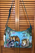 Anuschka Hand-painted Leather Zip-front Hobo Bag W Accessories African Adventure