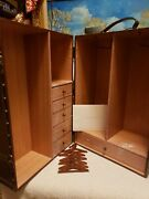 Franklin Mint Titanic Rose Doll Trunk Wardrobe Case W/6 Wooden Hangers And Card