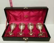 4-ornate Silver Plate Wine Goblet Candco Castle Grapes And Cherub W/case Vintage
