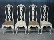 Set Of 4 Custom Reproduction Swedish Rococo Dining Chairs Antiqued White Finish