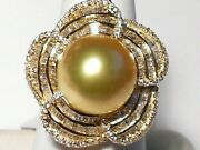 13mm Golden South Sea Pearl Pendant, Diamonds, Solid 18k Yellow Gold.