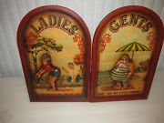 Restroom Signs Ladies And Gents Wooden 3d Funny Very Nice Rare
