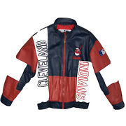Vintage 1990s Cleveland Indians Huge Chief Wahoo Pro Player Leather Jacket Large