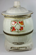 Mccoy Pottery Pot Belly Stove Cookie Jar 10in Tall White Vintage Canister Oven