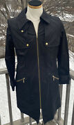 Green With Envy Trench Coat Jacket L Large Black Gold Accents